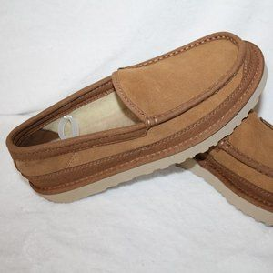 UGG MEN'S NEW SUEDE SHEARLING SLIPPERS CHESTNUT